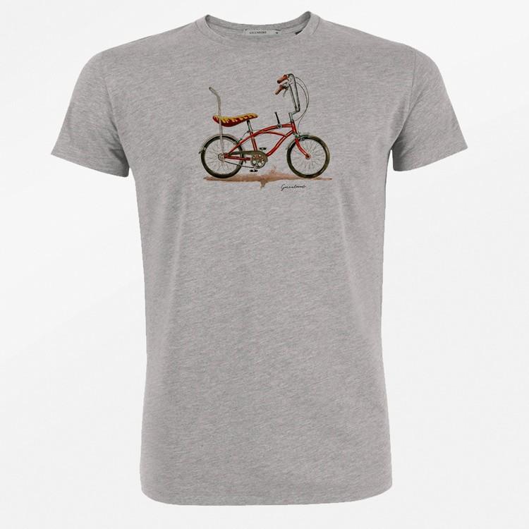 Green Bomb | T-shirt Bike Banana, bio katoen grijs