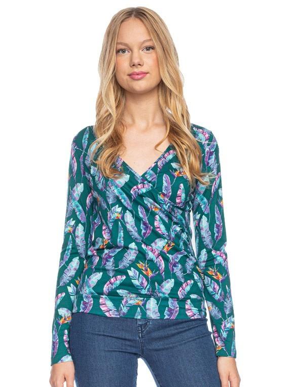 Ato Berlin, overslag shirt Emma veren paradijsvogel bloem print