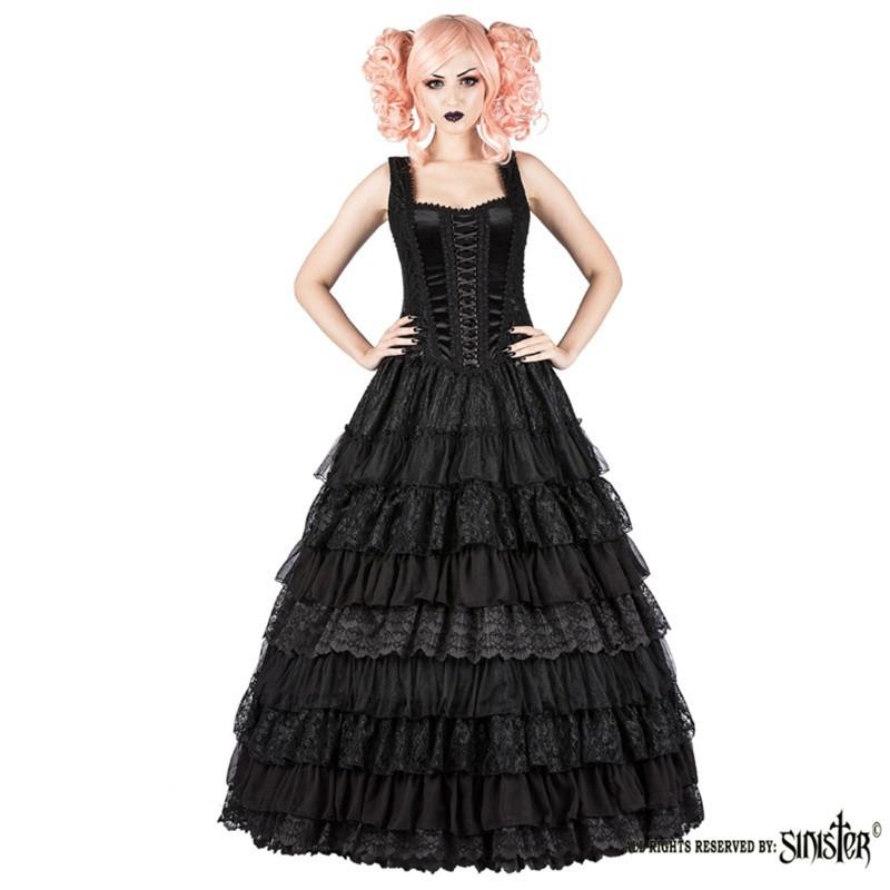 Lange Gothic Jurk Lynn, zwart met gelaagd kant