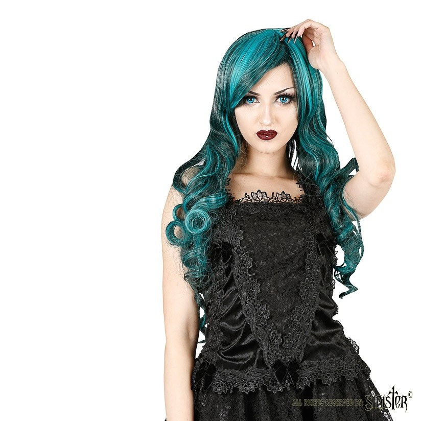 Top Lilith, zwart fluweel met kant en strikjes