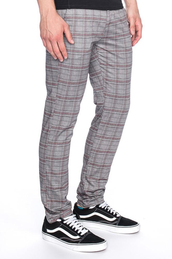 Pantalon Dino, grijs met rood geruit slim fit