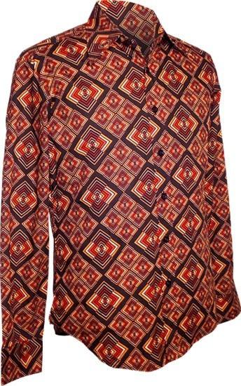 Chenaski | overhemd seventies, Rhombus donker bruin