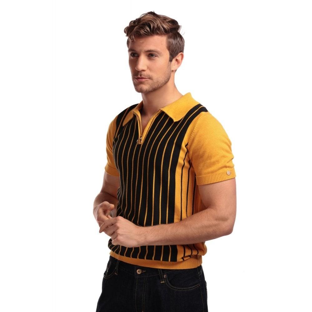 Polo Pablo, met strepen en rits, zwart geel
