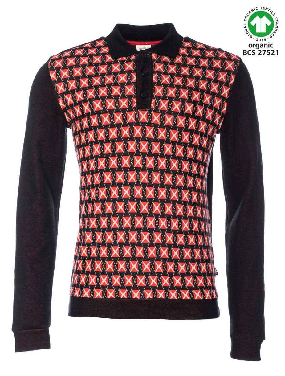 ATO Berlin, polo Enne, lange mouw, grafisch retro patroon, zwart rood