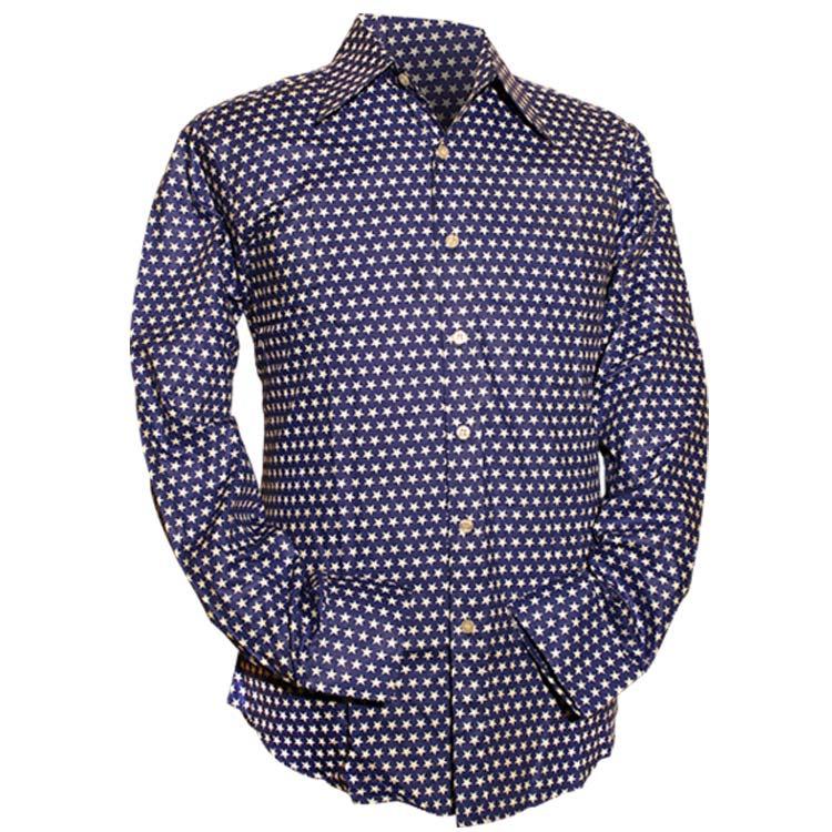 Chenaski | Blauw wit seventies overhemd Stars