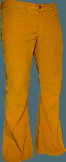 Ribcord retro broek mosterd geel, wijde pijp normale lengte