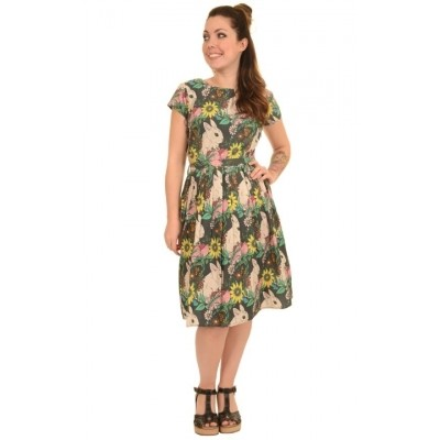 Jurk retro floral bunny tea dress