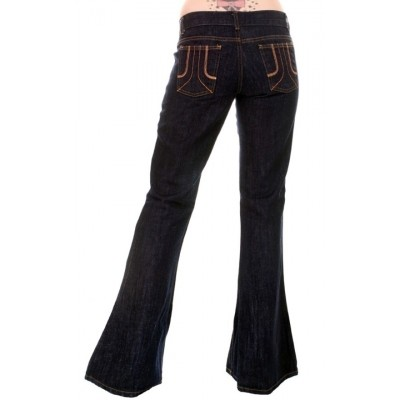 Foto van Jeans Seventies Bellbottom Donkere Denim