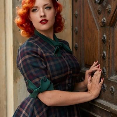Foto van Jurk Cherelle Gia, herfst tartan retro swing model