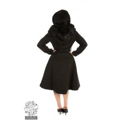 Foto van Winterjas Ella, zwart met pluche rond de capuchon