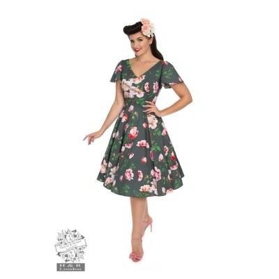 Foto van Jurk Amour swing model, grijs met rozen, Queensize