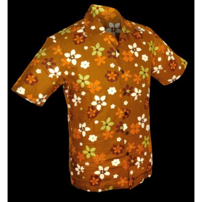 Foto van Overhemd korte mouw Fridge Flowers bruin