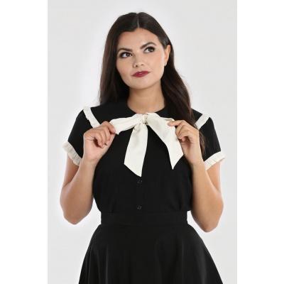 Foto van Hell Bunny   Blouse Veronica zwart met grote witte strik