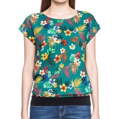 Foto van T-shirt Leo, groen met bloemenprint