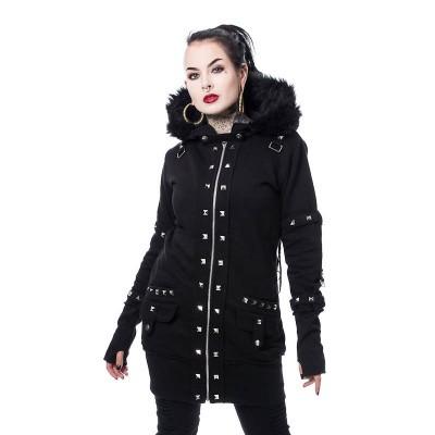 Foto van Hoody Effie, met studs en faux-fur kraag, zwart