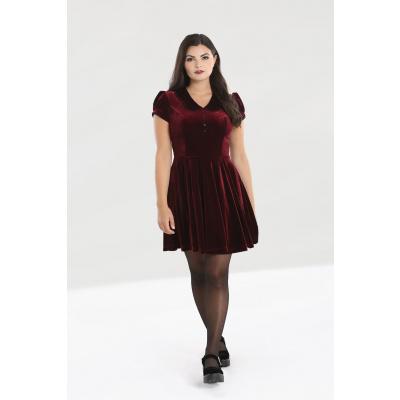 Hell Bunny | Bordeaux velvet jurk Blaise met pofmouwen