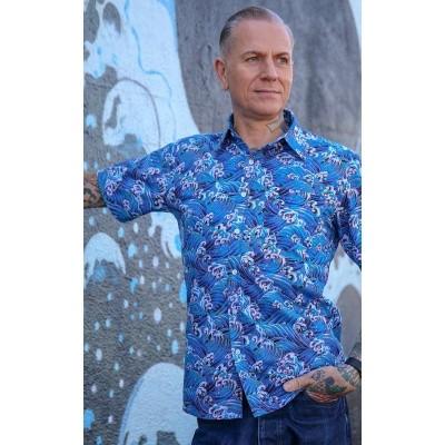 Overhemd korte mouw, 70's Wave, blauw