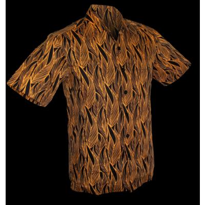 Foto van Overhemd korte mouw Leaves, zwart ovaltine