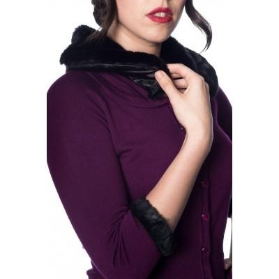 Foto van Cardigan Sapphire paars, zwarte imitatie bont kraag en manchetten