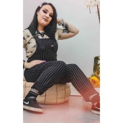Foto van Tuinbroek, zwart wit pin-stipe aansluitend model