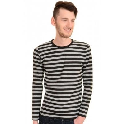 Foto van T-shirt met lange mouw, grijs zwart gestreept