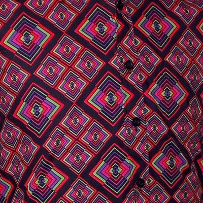 Foto van Overhemd retro, Rhombus zwart multicolour