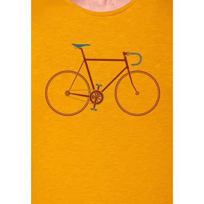 Foto van Green Bomb | T-shirt bike trip, bio katoen goud geel