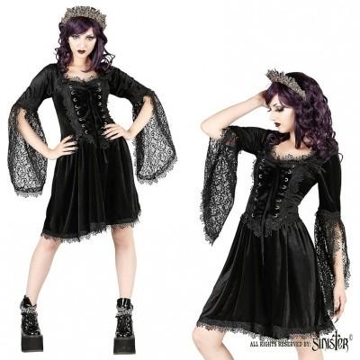 Foto van Jurk Ophelia, zwart fluweel met corset details en kanten mouwen
