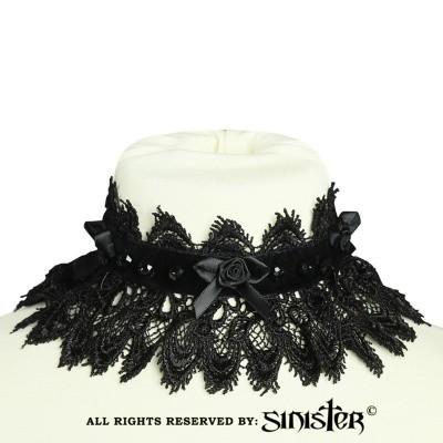 Foto van Choker Zoë, fluweel met satijnen bloem en kralen, zwart