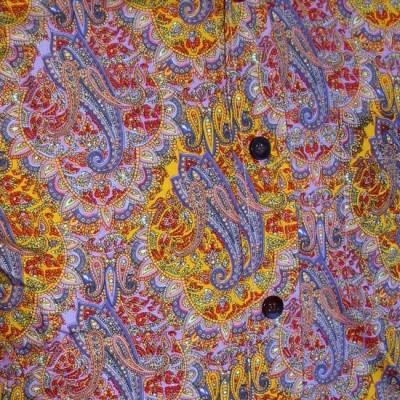 Foto van Overhemd retro Indian, paisley lilac yellow