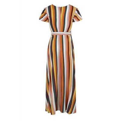 Foto van Maxi-jurk Sunny Tropical Stripe, faux wrap model