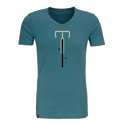 T-shirt Bike lauft, bio katoen storm blauw