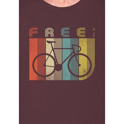 Foto van Green Bomb | T-shirt bruin Bike Retro Stripes bio katoen