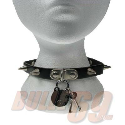 Bullet69 - Choker van zwart leer met metalen spikes en hangslot