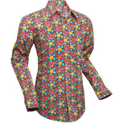 Foto van Overhemd Seventies Flowergrid, pink