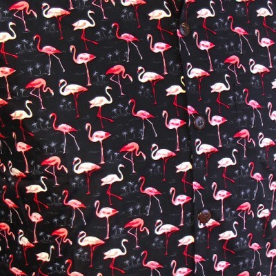 Foto van Overhemd korte mouw, Flamingo zwart