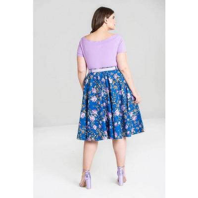 Foto van Rok Violetta 50's queen-size, blauw met paarse bloemen