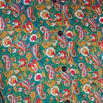 Foto van Chenaski | overhemd seventies, Paisley en bloemen groen