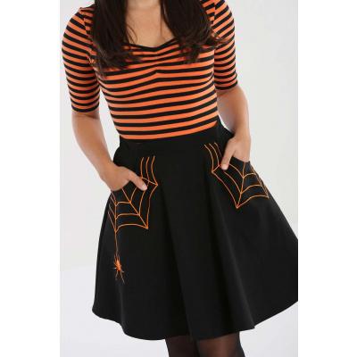Foto van Hell Bunny | Zwarte rok Miss Muffet met oranje spinnenwebben