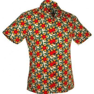 Foto van Chenaski - Overhemd korte mouw, Flowergrid, creme