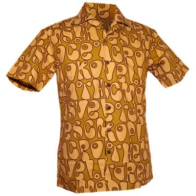 Foto van Chenaski | Overhemd korte mouw, Moloko, groen, creme, bruin