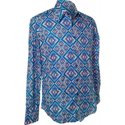 Chenaski | overhemd seventies, Rhombus turquoise