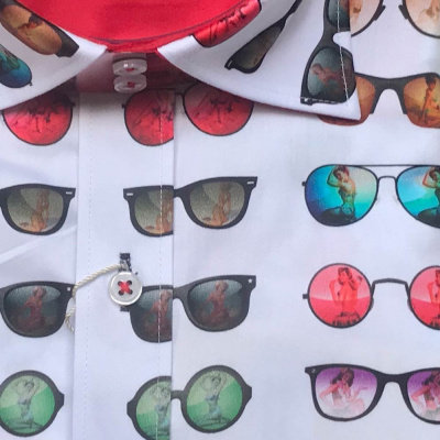 Foto van Claudio Lugli, overhemd korte mouw Sunglasses print