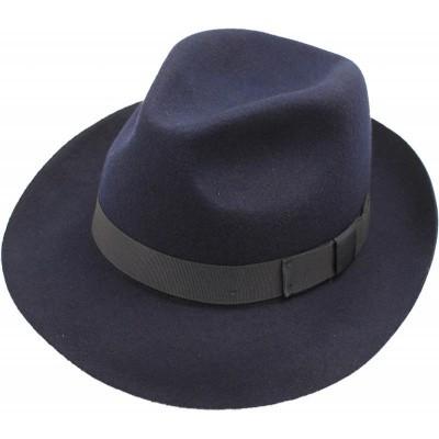 Foto van Trilby hoed, donkerblauw wolvilt met strikband