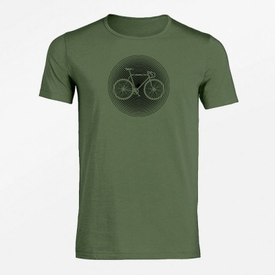T-shirt Bike circle, bio katoen steel green