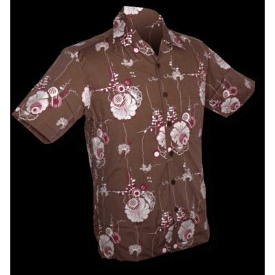 Overhemd korte mouw Japanese Leaves bruin