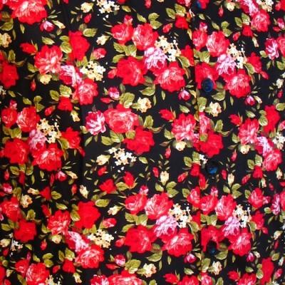 Foto van Overhemd korte mouw, Roses zwart rood