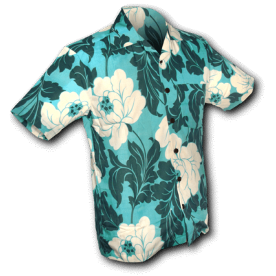 Foto van Overhemd korte mouw Flowers creme turquoise