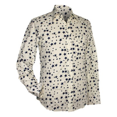 Foto van Chenaski - overhemd seventies, Stars creme en navy