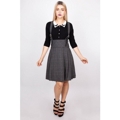 Foto van Rok grey Days, high waisted, grijze tartan